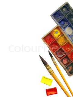 Clipping path Creative Art Background made of old paint brushes, palette and other tools for drawing