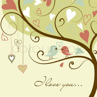 Stock Vector Illustration:stylized love tree made with two birds in love
