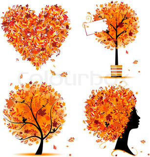 Autumn style - tree, frames, heart for your design