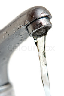 Water running from tap isolated