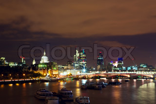 Night view of London, river Thames, St Paul's Cathedral and the Gherkin