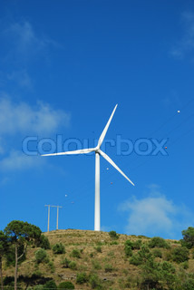 Wind turbine on the top of a mountain