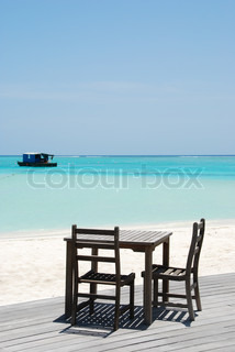 Beautiful beach bar view in Maldives