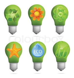abstrakte kreative eco lampe zeichen setzen isoliert. Black Bedroom Furniture Sets. Home Design Ideas