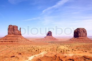 Left and Right Mitten and Merrick Butte, Monument Valley, Arizona-Utah, USA
