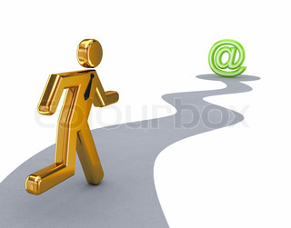 Running 3d small person and email sign