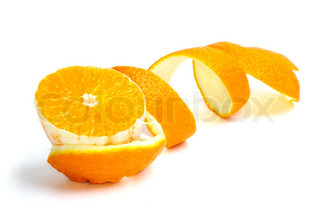 Orange slice and some spiral-shaped peel