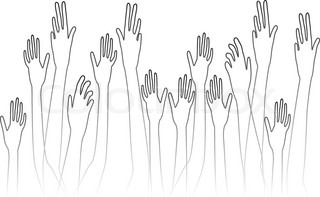 raised hands vector background