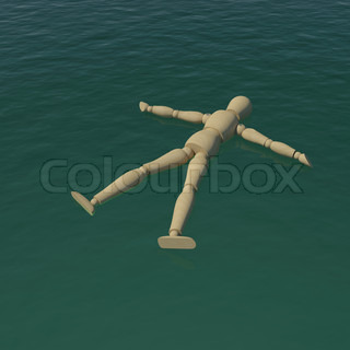 The wooden man floating in the sea water. 3D rendering