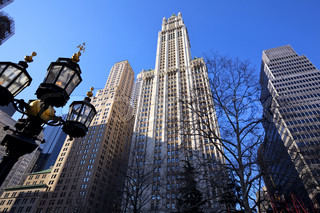 High Rise Buildings and Woolworth Building at City Hall Park in New York
