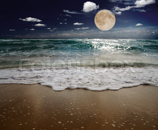 sea and moon focus on wave