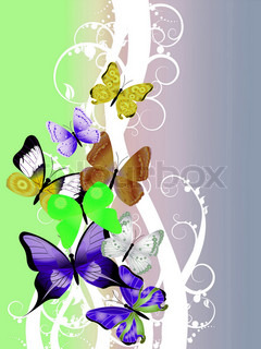 Flot illustration med farverige sommerfugl