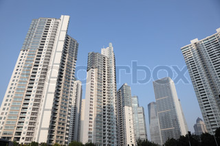 Highrise buildings in Pudong New Area in Shanghai, China