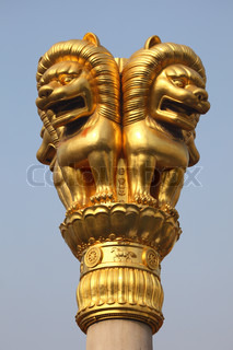 Lion golden statue in Shanghai, China