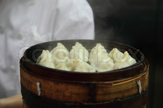 Traditional Chinese dumpling in a steam bamboo cooker