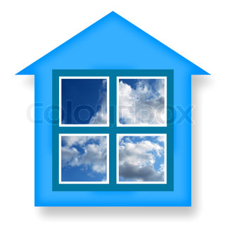 Dream house, concept with ideal home and blue sky in windows on a white background