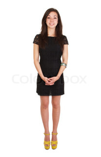 full length 18 years old young woman in black dress ready for night out isolated on white background