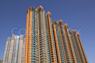 Highrise apartment buildings in Kowloon, Hong Kong
