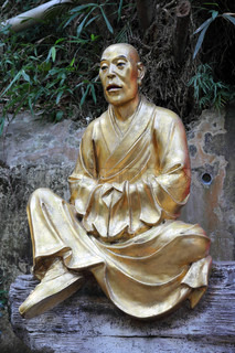 Golden buddha statue in Hong Kong