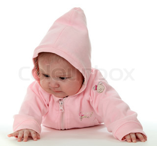 Baby girl in hooded sweater