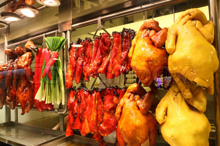 Roasted ducks and chickens in a Chinese restaurant