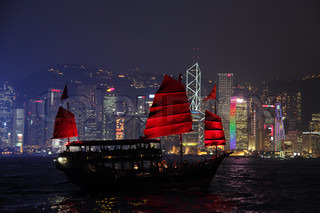 Traditional Sail Boat in Hong Kong at night Photo taken at 25th of November 2010