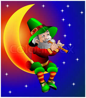 magician plays on flute sitting on moon in the night
