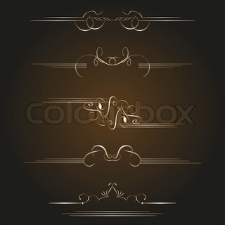 vector set gold calligraphic design elements and page decoration