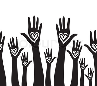 People hand like heart united seamless background