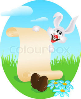 Easter bunny with paper scroll and chocolate eggs on a meadow