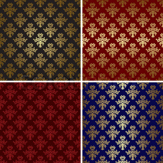 set of vector vintage patterns with gold tracery