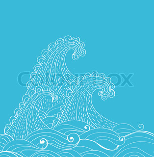 Abstract hand-drawn waves background, illustration