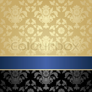 Seamless pattern, floral decorative background, blue ribbon