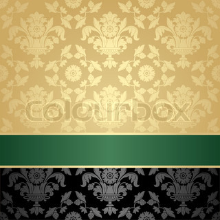 Seamless pattern, floral decorative background, green ribbon