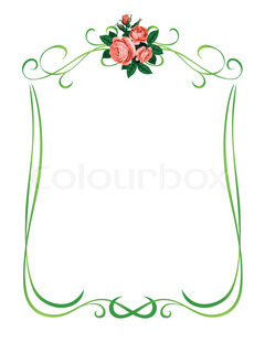 vector roses frame pattern background decoration isolated