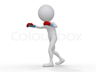 3d boxer making a jab