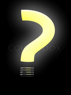 Question lightbulb isolated on black background 3D image