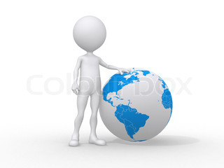 3d people icon and the earth globe -This is a 3d render illustration