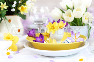 Place setting for Easter with crocuses