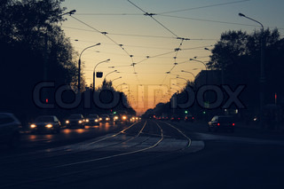 night street with grid wires