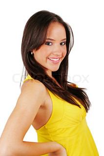 billede klassisk pin up billede af smukke dame i gul kjole over hvide billede
