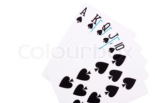 Spade Royal Flush on white background
