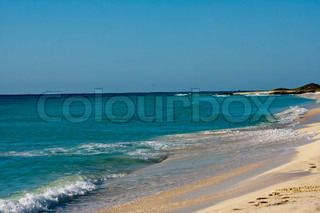 Sandy Caribbean beach on clearday