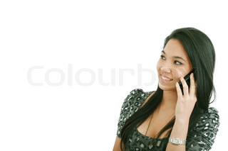 woman talking on cellphone, isolated on white background