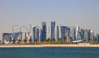 Skyline of Doha downtown district Qatar, Middle East