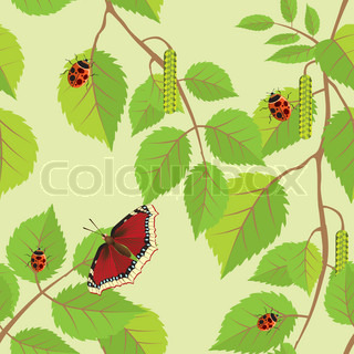 Flower background with butterflies and dragonflies Seamless