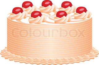 vector delicious cake with cherries and cream