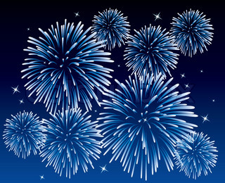 vector blue fireworks background