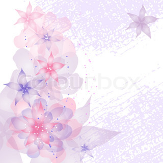 Card or invitation with abstract floral background Greeting card in grunge or retro style