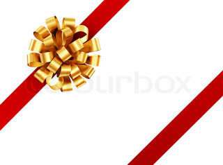 Golden ribbon with red bow